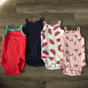 Carter's girls sleeveless onesie t shirts 4 pack